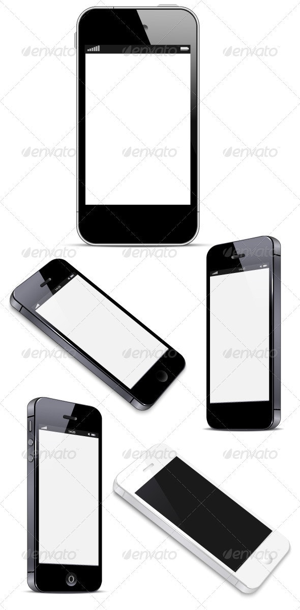 Smart Phone with Blank Screen Isolated on White - Communications Technology