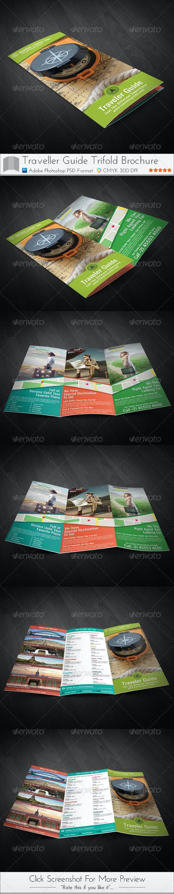 Traveler Guide Trifold Brochure - Brochures Print Templates