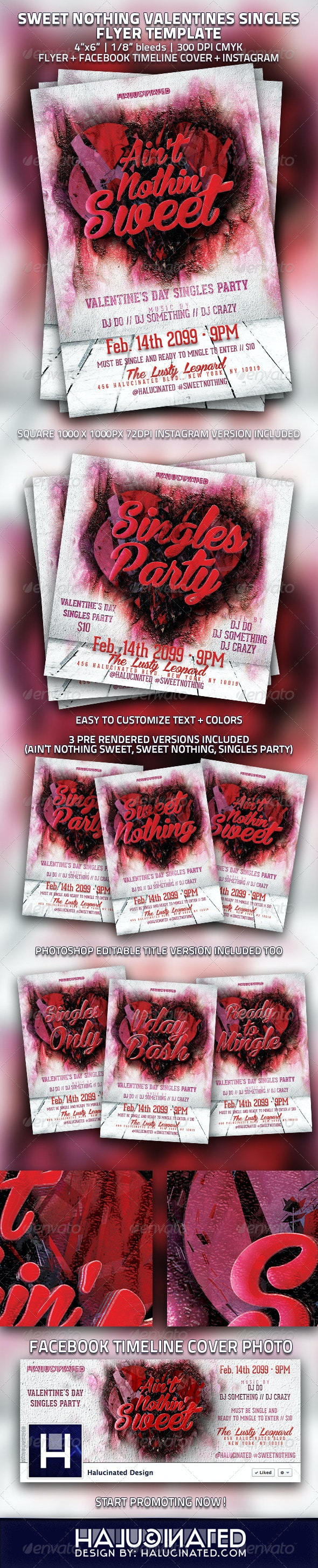 Sweet Nothing Valentines Singles Flyer Template - Holidays Events