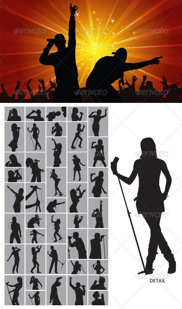Singer Silhouette - People Characters