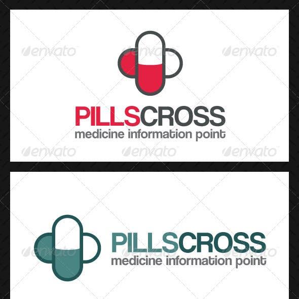 Pills Cross Logo Template