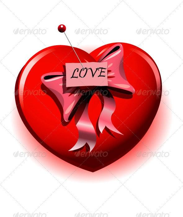 Red Heart with Pin - Decorative Symbols Decorative