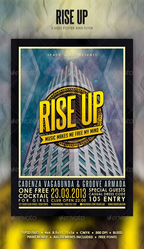 Rise Up Poster and Flyer - Events Flyers