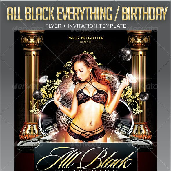 All Black / Birthday Party Flyer Template