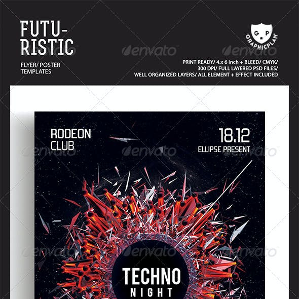 Techno Music Futuristic Flyer Templates