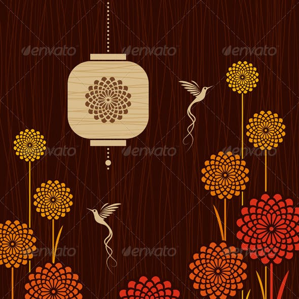 Card With Birds, Flowers And Lantern
