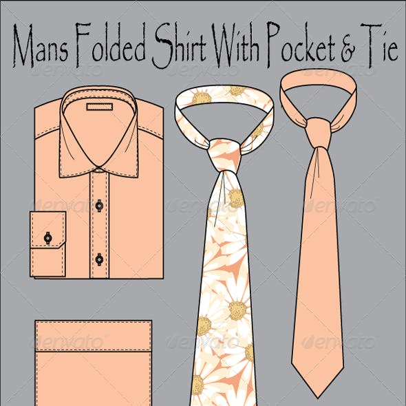 Men's Wear Folded Shirt With Tie Vector