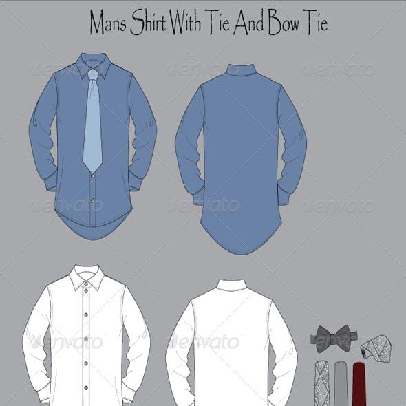 Men's Wear Long Sleeve Button Front Shirt Flat Vec