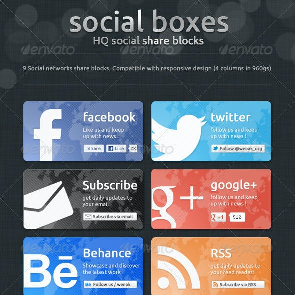 Social Boxes - Social Share Blocks