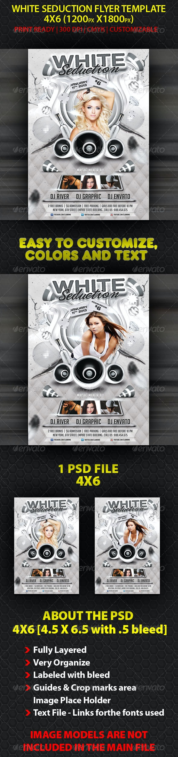 White Seduction Flyer Template - Clubs & Parties Events