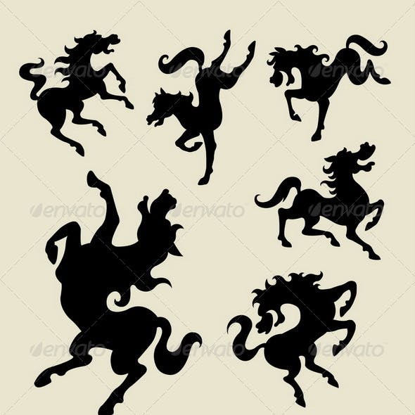 Horse dancing silhouette vector