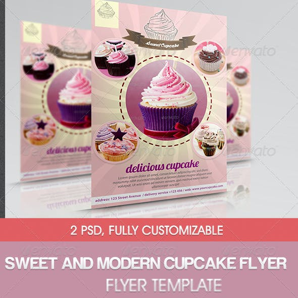 Sweet and Modern Cupcake Flyer