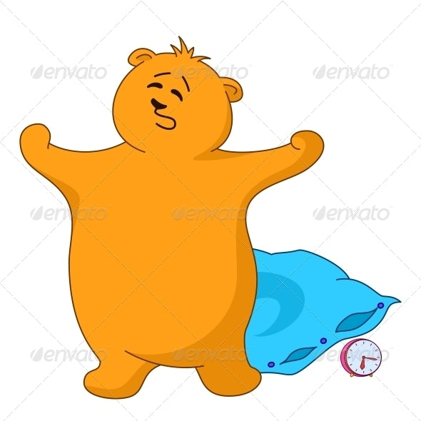 Teddy bear yawning with a pillow - Animals Characters