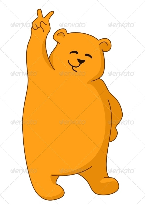 Teddy bear showing victory - Animals Characters