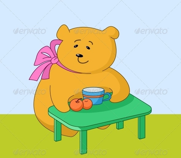 Girl bear with peaches - Animals Characters