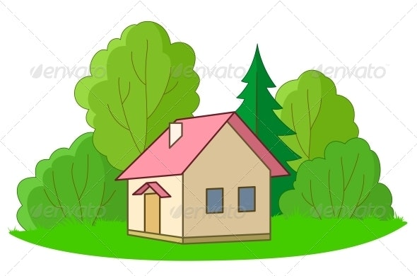 Small House with Trees - Landscapes Nature