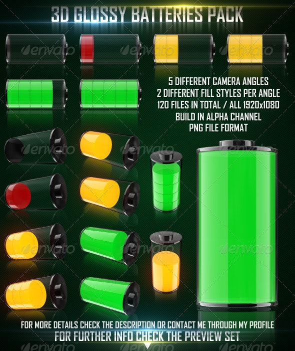 3D Glossy Batteries Pack - Technology 3D Renders