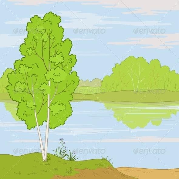 Landscape. Forest River - Landscapes Nature