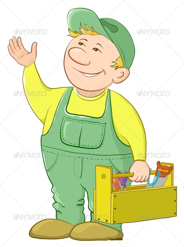Man Worker with a Toolbox - People Characters