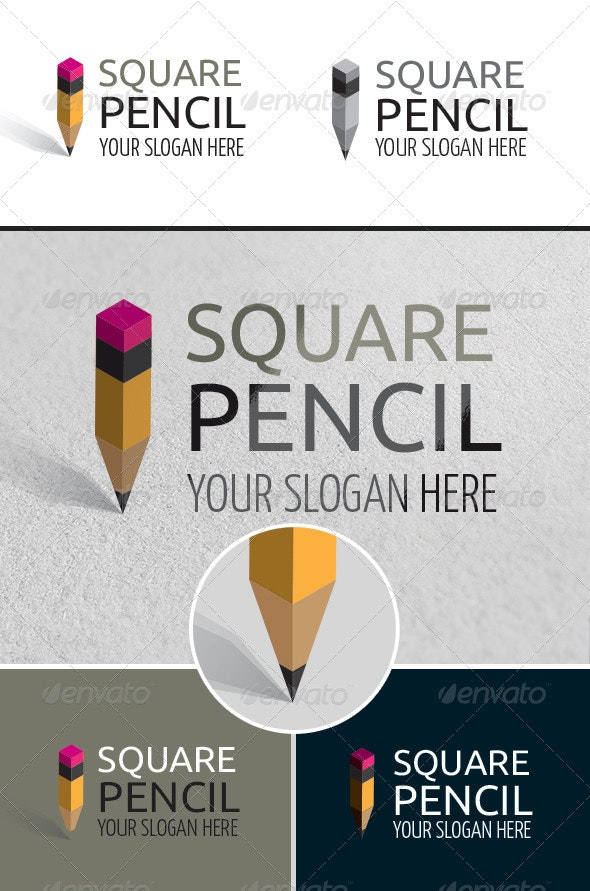 Square Pencil Art School Logo - Objects Logo Templates