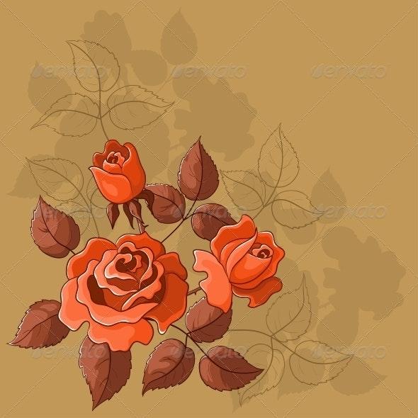 Flower Background, Roses - Patterns Decorative