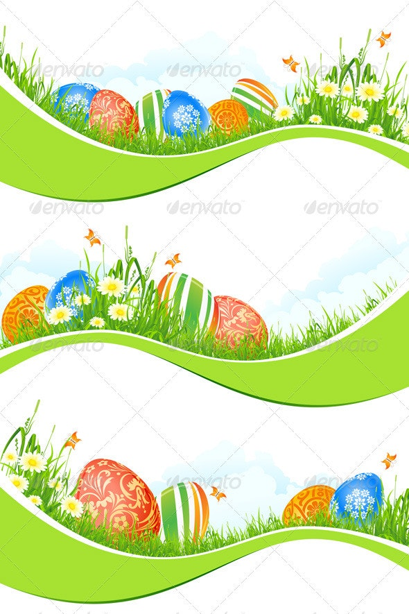 Easter Banners Set Isolated on White - Seasons/Holidays Conceptual