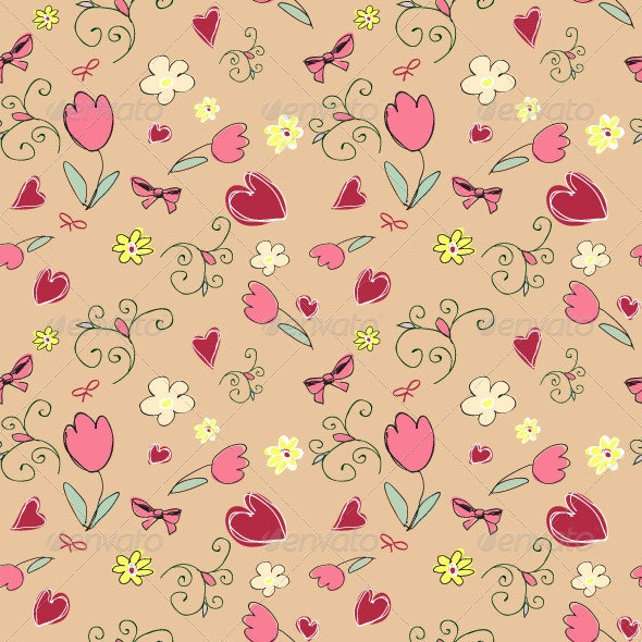 Seamless Pattern with Hearts and Flowers - Patterns Decorative
