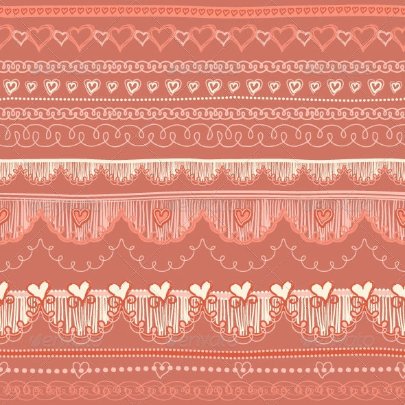 Seamless Lase Pattern with Hearts and Geometrical  - Patterns Decorative