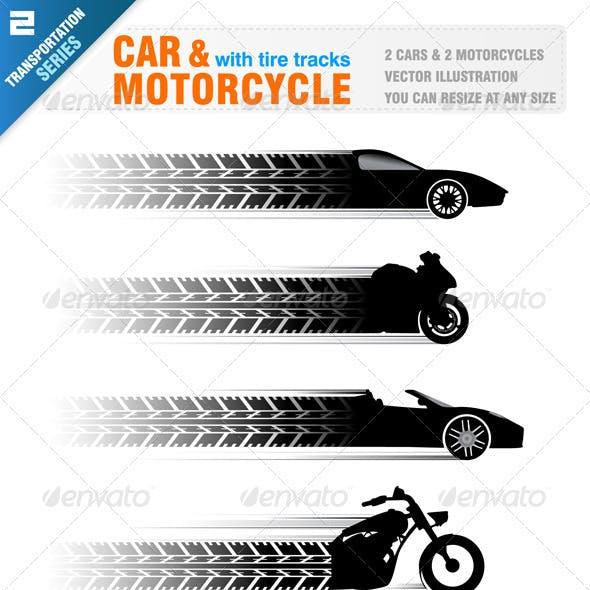Car and Motorcycle with Tire Track