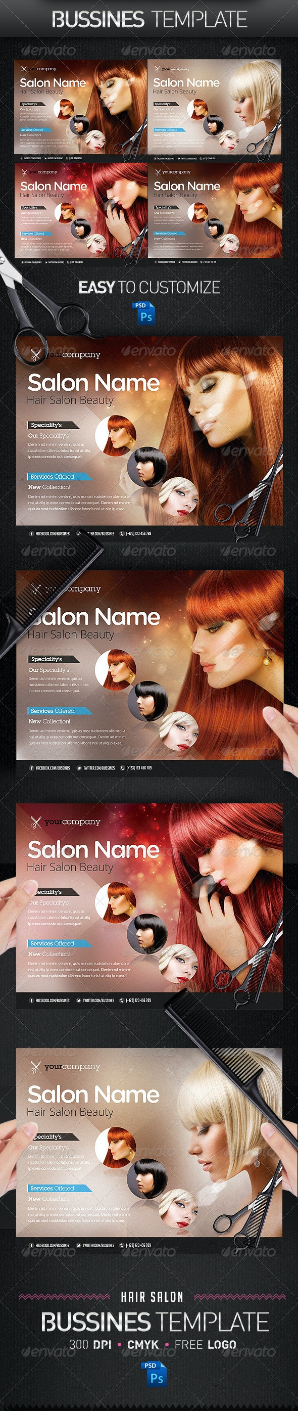 Hair Salon PRO Bussines Promotional Flyer - Commerce Flyers