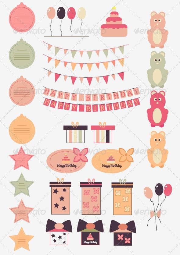 Happy Birthday Vector Set - Birthdays Seasons/Holidays