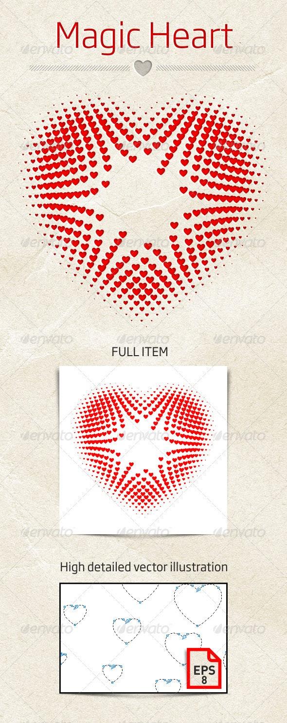 Magic Heart Vector Illustration - Decorative Symbols Decorative