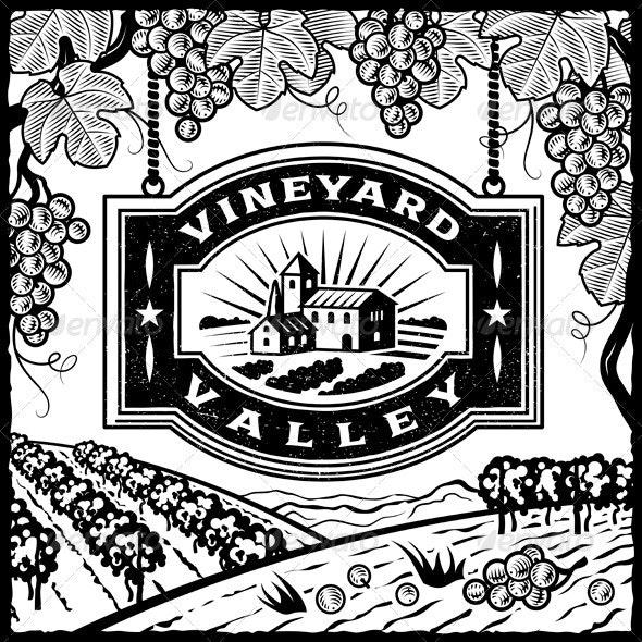 Vineyard Valley Black And White - Decorative Symbols Decorative