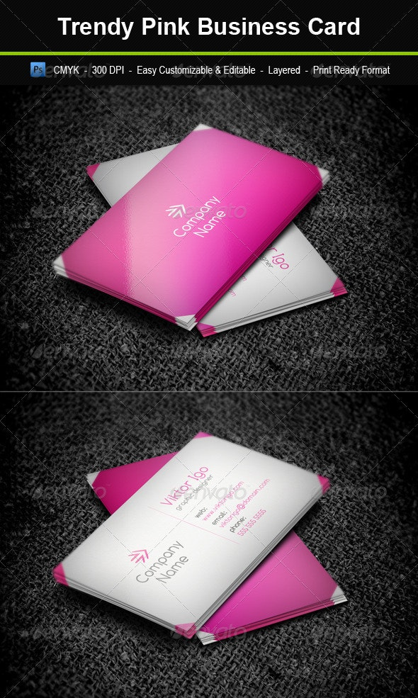 Trendy Pink Business Card - Corporate Business Cards