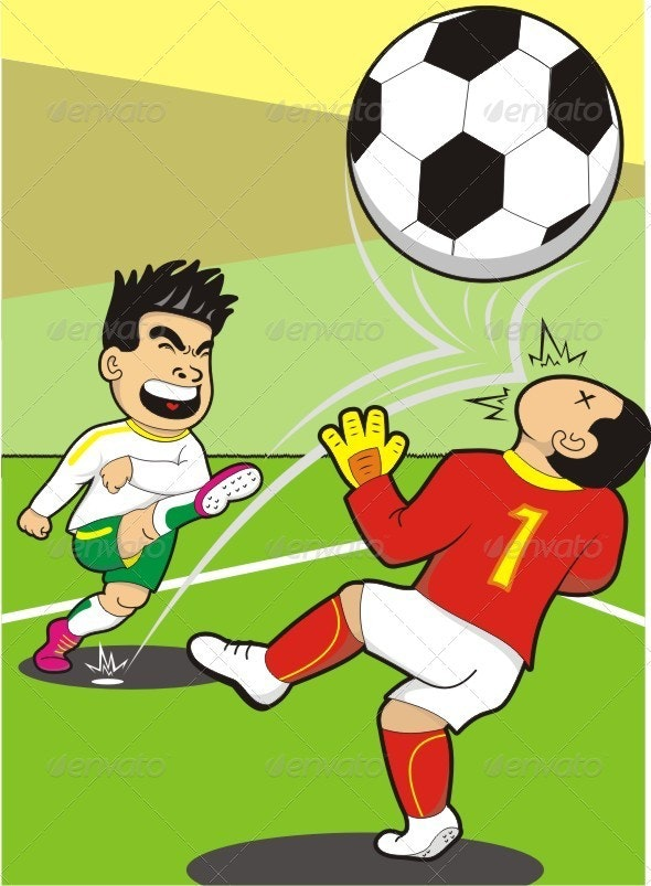 Funny Penalty Kick - People Characters