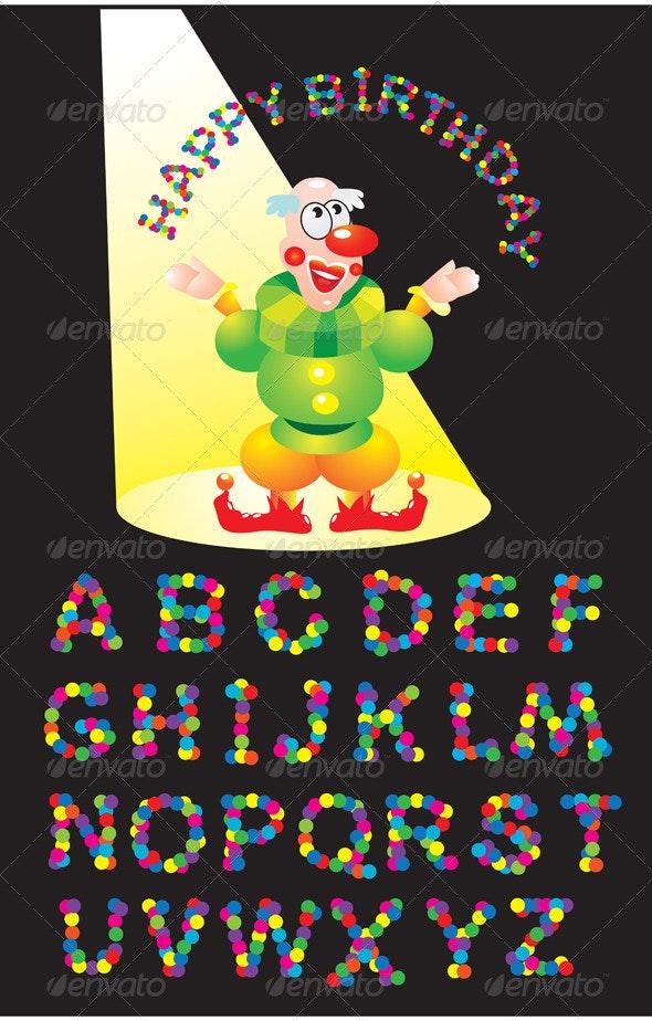 Confetti letters - English Alphabet and Clown - Decorative Symbols Decorative