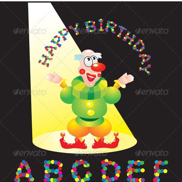 Confetti letters - English Alphabet and Clown