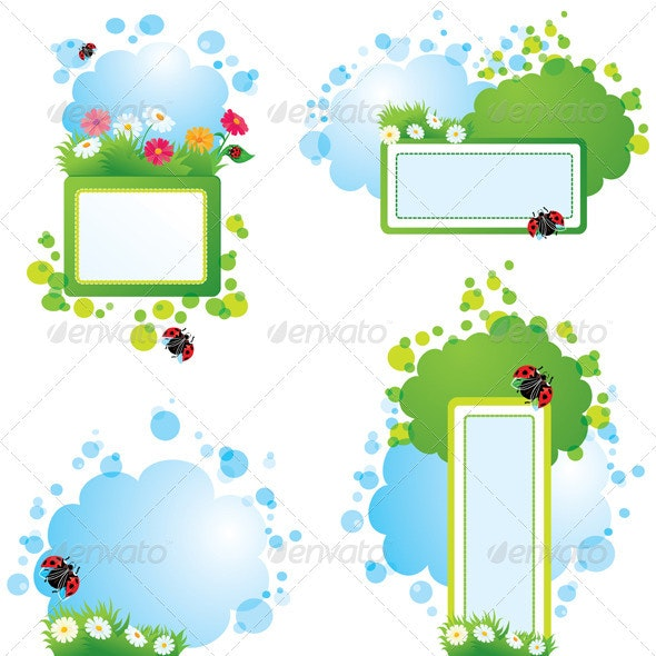 Set of summer Backgrounds and Frames - Borders Decorative