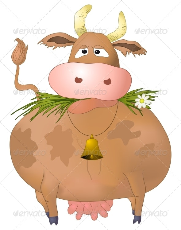 Silly Cow Eats Grass - Animals Characters