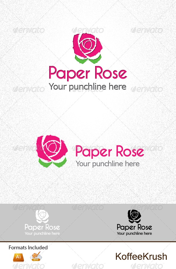 Paper Rose Logo - Nature Logo Templates