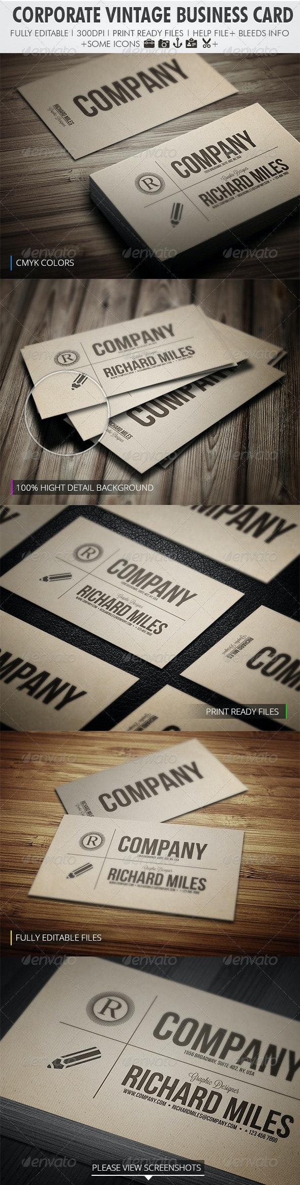 Corporate Vintage Business Card - Retro/Vintage Business Cards