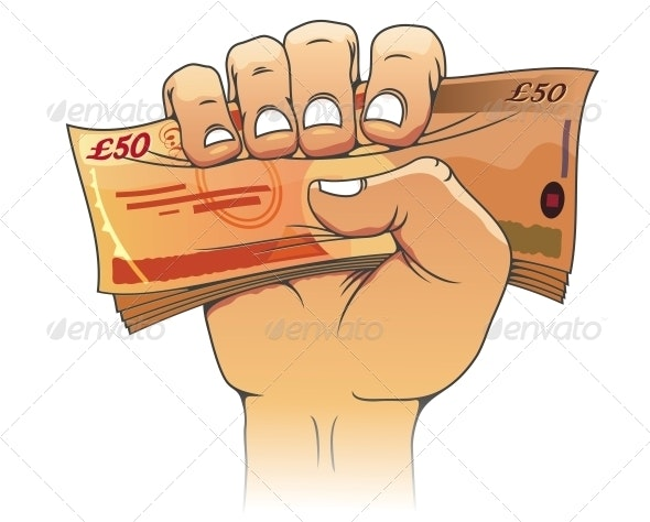 Fifty Pounds Banknote in Hand - Concepts Business