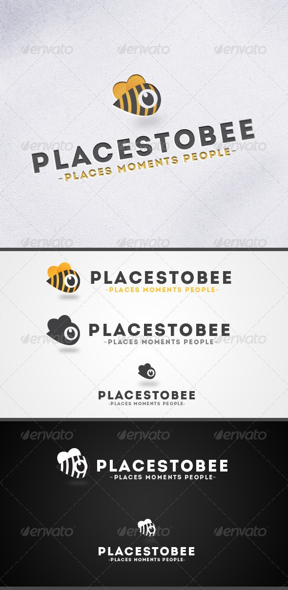 Places to Bee-Location Marker Logo  - Animals Logo Templates