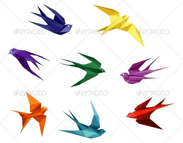 Swallows in Origami Style - Animals Characters