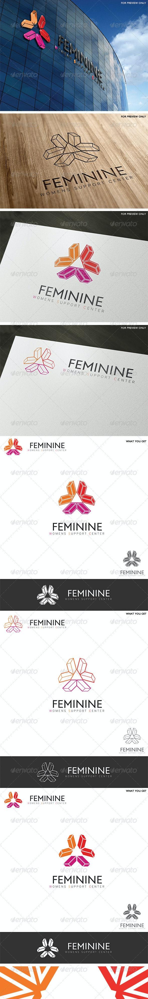 Feminine Center Logo Template - Vector Abstract