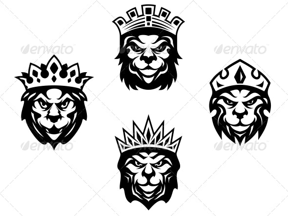 Heraldry Lions with Crowns - Animals Characters