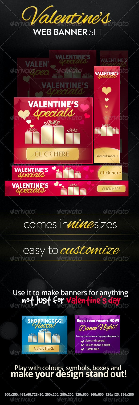 Premium Valentine's Day Web Banners - Banners & Ads Web Elements