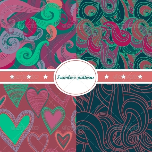 Colorful Set of Abstract Seamless Backgrounds - Backgrounds Decorative