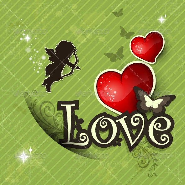 Love Heart and Decorations, Vintage Green Background - Valentines Seasons/Holidays