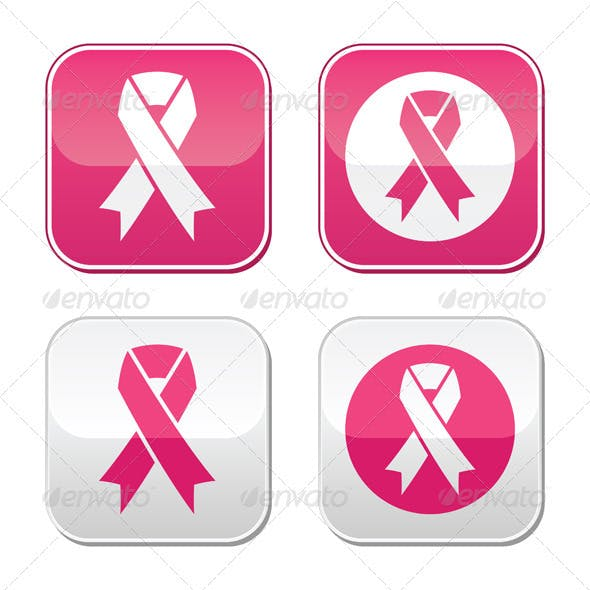 Ribbon Symbols for Breast Cancer Awareness Buttons